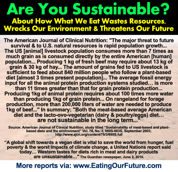 Reports Studies how Eating Animal Agriculture Meat Livestock Diseases Destroys Damages Wastes Resources Kills Forests Environment Wilderness Benefits of Veganism Vegan Vegetarian Diets Climate Change Improve Resource Water Sustainability
