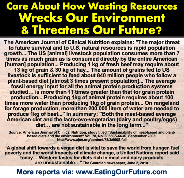 AJCN Scientific Science Journal Study Reports How Animal Agriculture Ag Meat Foods Products Livestock Damages Impacts Pollutes Destroys Hurts Environment Wastes Resources like Water Fuels Energy Grains Forests Famine Climate Change Greenhouse Gases Carbon Footprint from Omnivore Food The Main Benefits Advantages of Vegetarian Vegan Healthy Diets Lifestyles Save Planet Earth