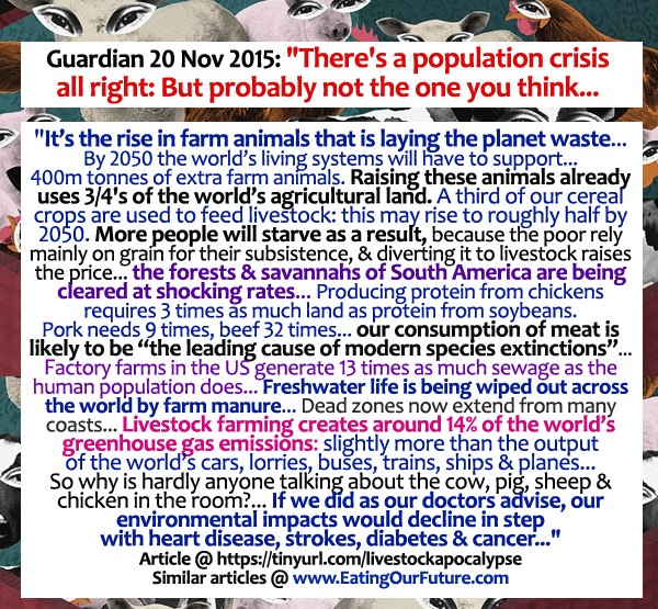 Guardian News Report Population Crisis Meat Livestock Farm Animal Ag Agriculture Climate Change Pollution Damage Environment Forests Waste Resources Water Fuel Food Vegetarian Vegan Solution Benefits Advantages Cowspiracy Facts Debunked