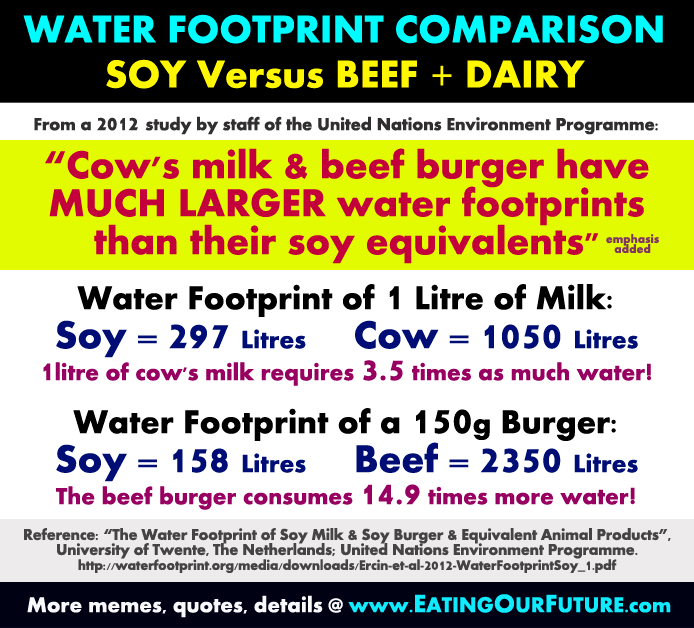 Comparison Water Footprint Use Usage of Foods Compare Plant based Diets Soy Food Products Versus Vs Compared to Dairy Cow Milk Red Meat Beef Burger Animal Agriculture is Wasteful Exposed Wastes Vegetarian Vegan Omnivore Diet Animal Eaters